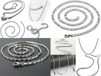 """High Quality 316L Stainless Steel 21"""" Silver Chain Necklaces 1MM to 3MM"""