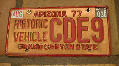 Arizona Copper Historic Vehicle Antique Vehicle License Plate Cde9