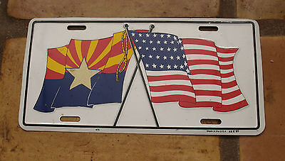 ARIZONA & US FLAGS BOOSTER NOVELTY LICENSE PLATE, Made Of Aluminum