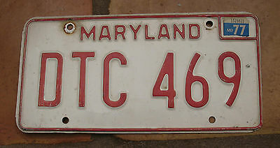 Maryland 1977 License Plate Dtc 469