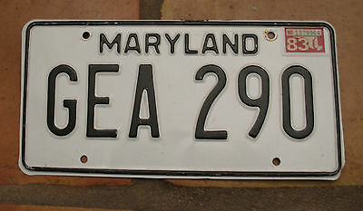 Maryland 1983 License Plate Gea 290