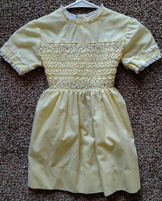 Vintage Polly Flinders Hand-Smocked Pastel Yellow Dress Girl's Size 6