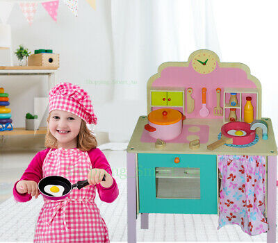 10 Pieces New Large KIDS WOODEN Kitchen Cooking Set Toy Pink Pretend Play