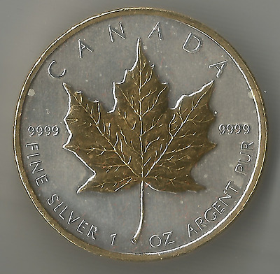 Canadian 2011 Maple Leaf 1 oz Silver Gold Gilded Coin