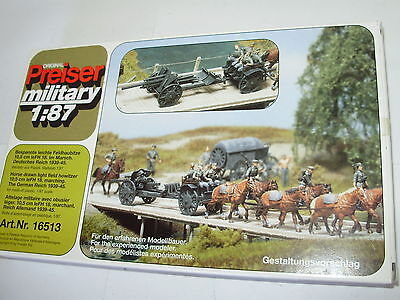 Preiser 16513 WWII Horse & artillery set. HO. Boxed. Unpainted. New old stock.
