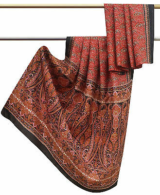 Vintage Indian Paisley Printed 100% Pure Silk Red Saree Used Fabric Sari 5 Yard