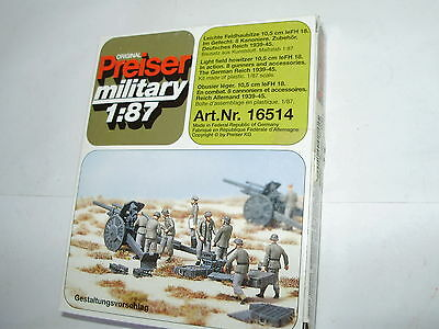 Preiser 16514 WWII Howitzer set. HO. Boxed. Unpainted. New old stock.