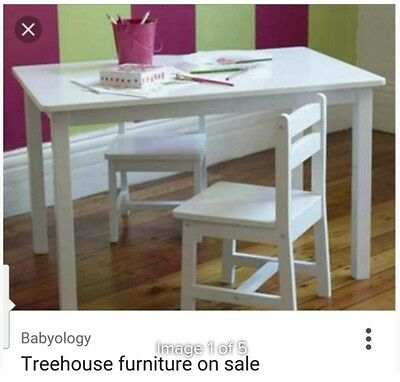 Treehouse white childrens table and 2 chairs set PU Strathfield