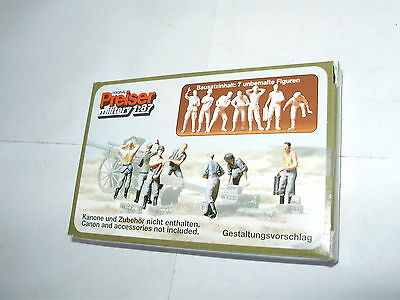 Preiser  WWII German 7 figure set. HO. Boxed. Unpainted. New old stock.