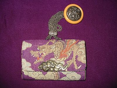 Japanese antique tobacco pouch with Netsuke