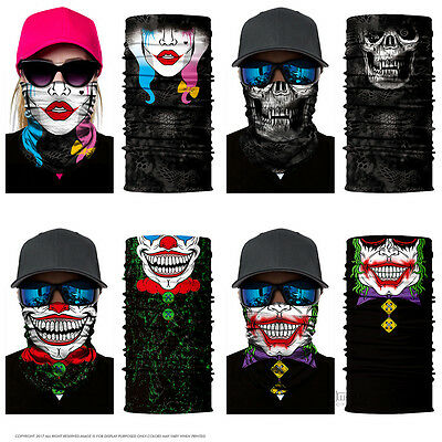 Motorcycle Cycling Bandanas Face Mask Scarf Neck Tube Clown Multi Use Men Women