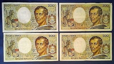 FRANCE: 4 x 200 Francs Banknotes Extremely Fine Condition