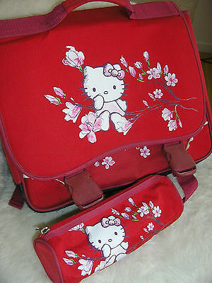 Cartable + Trousse Rouge Hello Kitty