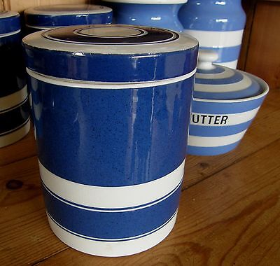 VINTAGE T.G.Green CORNISHWARE ~ Channel Isles Aderney Blue Canister