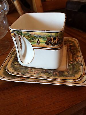 Art Deco china trio Foley Cube Cup and Saucer And Side Plate .