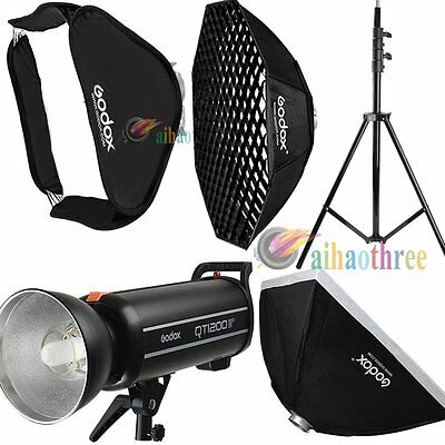 Godox QT1200IIM 1200W HSS 1/8000s Studio Strobe Flash Light + Softbox + Stand