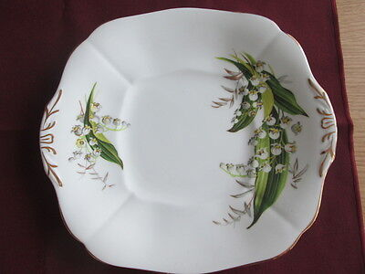 """Adderley Lily Of The Valley Large Sandwich / Cake Plate 9.75"""" Wide"""