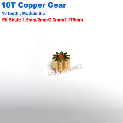 Motor Main Shaft 10T Metal Steel Brass Copper Gear 10 Teeth 0.5 Module Model Toy