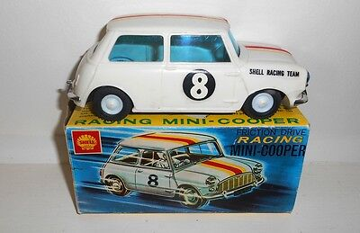 MINI COOPER S RACING CAR SHELL OIL BOXED LINCOLN TOYS MODEL GARAGE VINTAGE 1960s