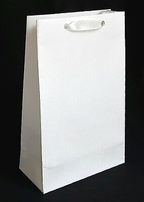10 Luxury White Paper Gift Party Bags Satin Handles Birthday Wedding Hen Small