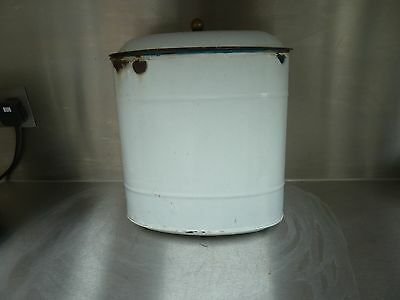 Vintage White French Enamel Wall Mounted Bin