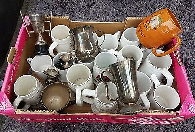 A Box of Ceramic Mugs, Silver Plated Tankards & Trophies