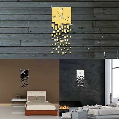 Luxury DIY 3D Wall Clock Home Decor Bell Cool Mirrors Wall Stickers Art Watch BE