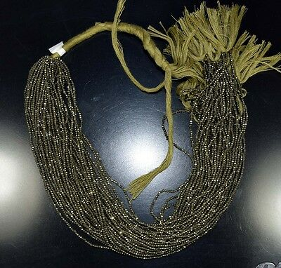 """2  Mm  13 """" 100%  Natural  Aaa+ 10  Line   Pyrite  Untreated Beads Strand"""