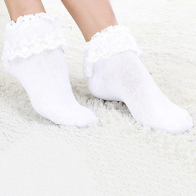 Sweet Women Girls Vintage Lace Ruffle Frilly Ankle Socks Fashion Princess Gift