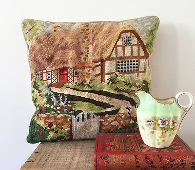 Vintage needlepoint tapestry cushion - english cottage country house - velvet