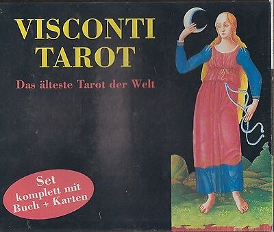Visconti Tarot Set, 78 Tarotkarten mit Golddruck & Buch Berti/Conrad in Box RAR