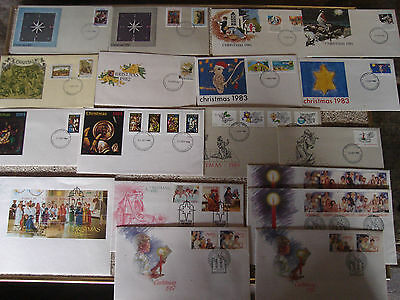 17 x Australian First Day Covers Christmas 1980 to 1987