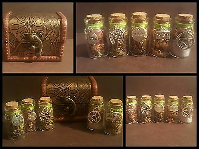 Authentic Powerful spell bottles in small wooden chest, Wicca, Pagan, spell card