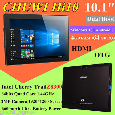 "CHUWI Hi10 10.1"" 1920*1200 Windows 10 Android 5.1 Intel Quad Core 64GB Tablet PC"