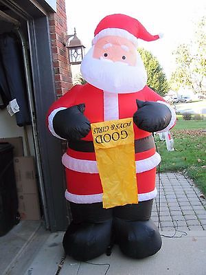 7' Gemmy Santa with List Air blown Inflatable Xmas Outdoor Lawn Yard Light Decor