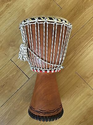 """Hand Carved Wood Djembe with tight Goat Skin Head Approx 12"""" x 24"""""""