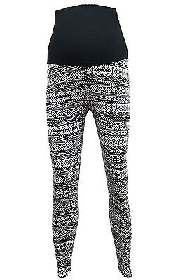 Women Full Length Jersey Maternity Leggings BLACK WHITE Aztec Printed