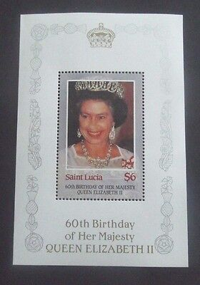 St Lucia-1986-Queen Elizabeth II-60th Birthday Minisheet-MNH