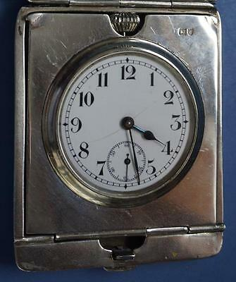 Antique Silver Cased Working Travel Clock Swiss Movement Hallmarked