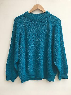 Vintage 70s 80s Bright Turquoise Boucle Knit Jumper 12 14 16 Disco