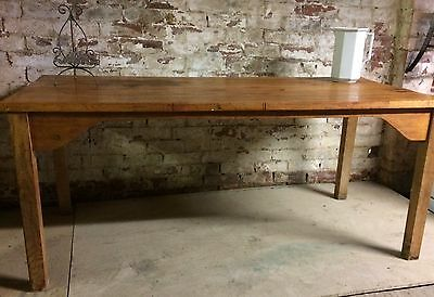 Vintage Former School Table Original Large Pine Dining Reclaimed