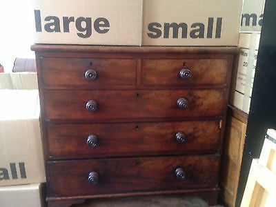 Antique Victorian Large Wallnut Chest Of Drawers