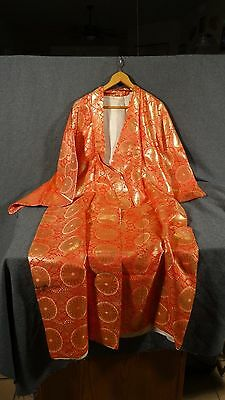 (B10) Vintage Japanese Red Gold Brocade Flowers Belted Kimono Robe