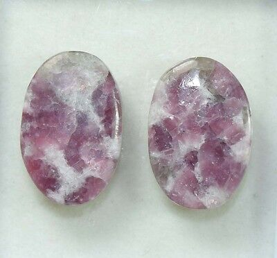 Pair  30.65 Cts. 100 % Natural Lepidolite Untreated  Oval Cab Loose Gemstones