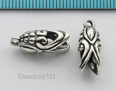 1 pc x  BALI OXIDIZED STERLING SILVER LEATHER CORD END CAP 4mm #1379