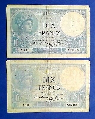 FRANCE: 2 x 10 Francs Banknotes - Fine Condition