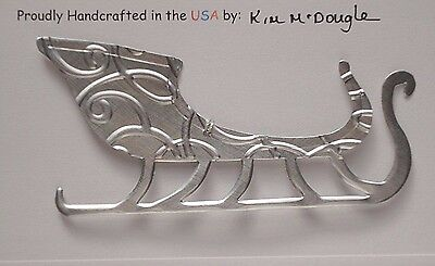Sleigh Handmade Double Sided Christmas Ornament Recycled Aluminum Metal Can Art