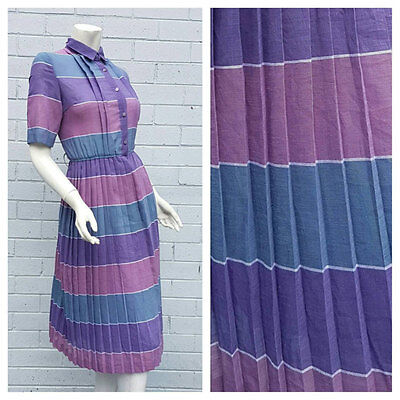 Vintage 1980s Stripe Print Point Collar Accordion Pleat Midi Dress Medium Large