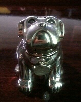 Pottery Barn English Bulldog with Dog Tag Silver Salt or Pepper Shaker Figurine