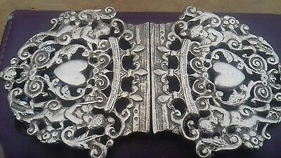 Solid Silver Antique Nurses Buckle. Has Beautiful  Cherubs On It And Hearts.